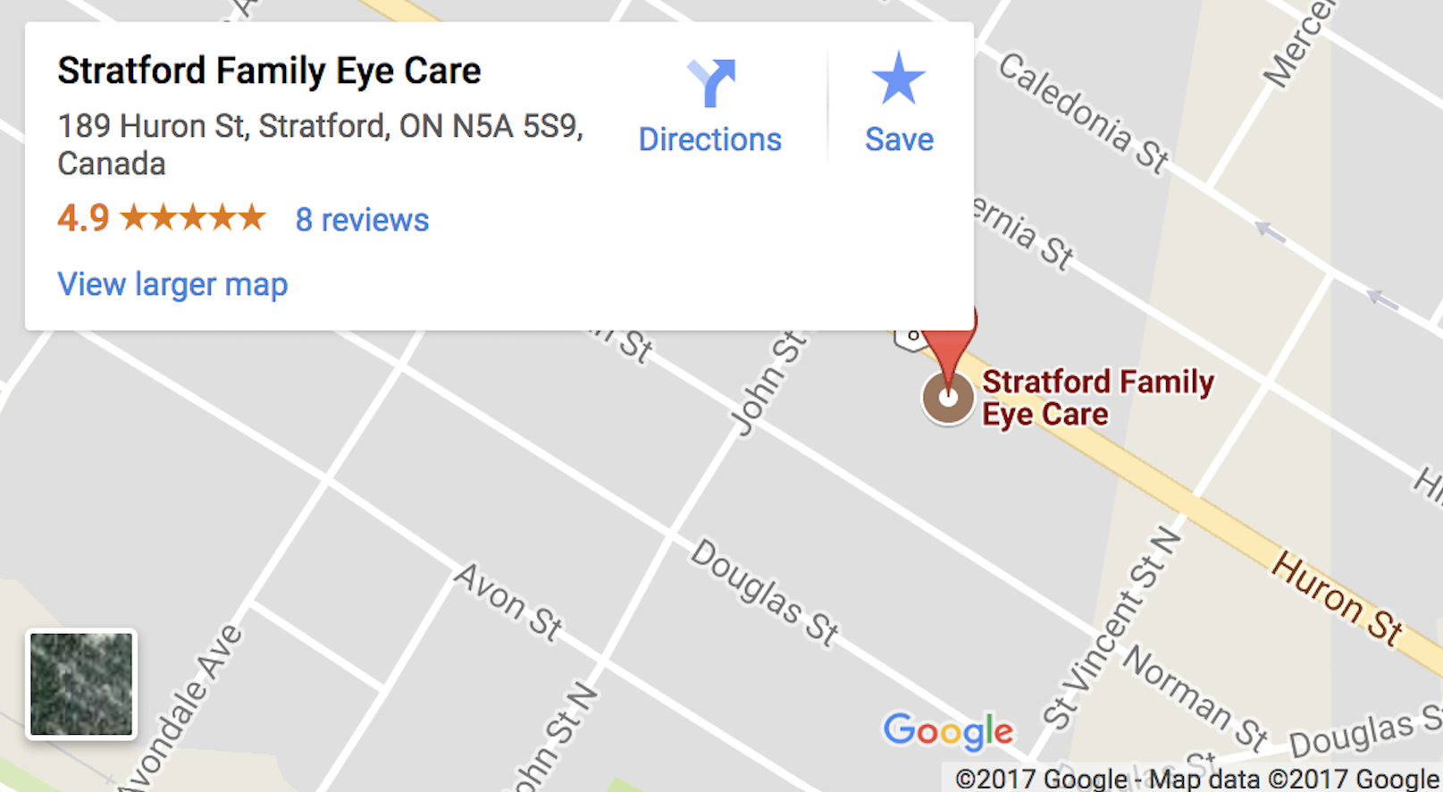 Google map of Stratford Family Eye Care