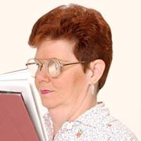 woman wearing ClearImage2 microscope