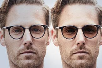 Optometrist, man wearing transitions eyeglasses in Lombard, IL