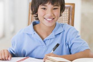 boy studying reading