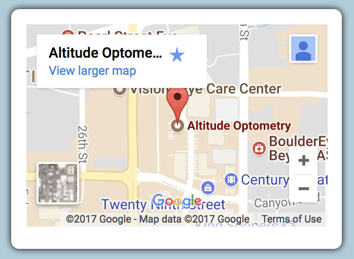 homepage map of Altitude Optometry