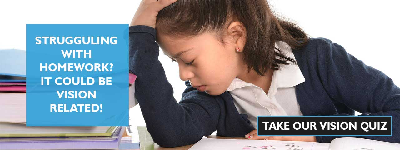 frustrated child at school. Ad for our vision quiz