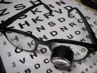 eyechart with biopic glasses - eye exam Athens