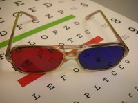eyechart with vision therapy glasses
