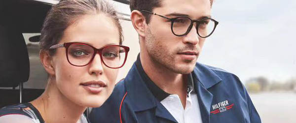 young couple wearing designer frames in Athens, GA