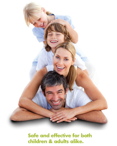 Family wearing contact lenses, enjoying time together