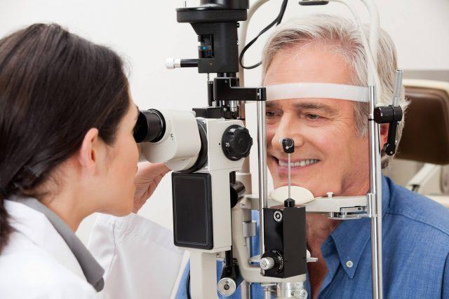 Senior man at an eye exam