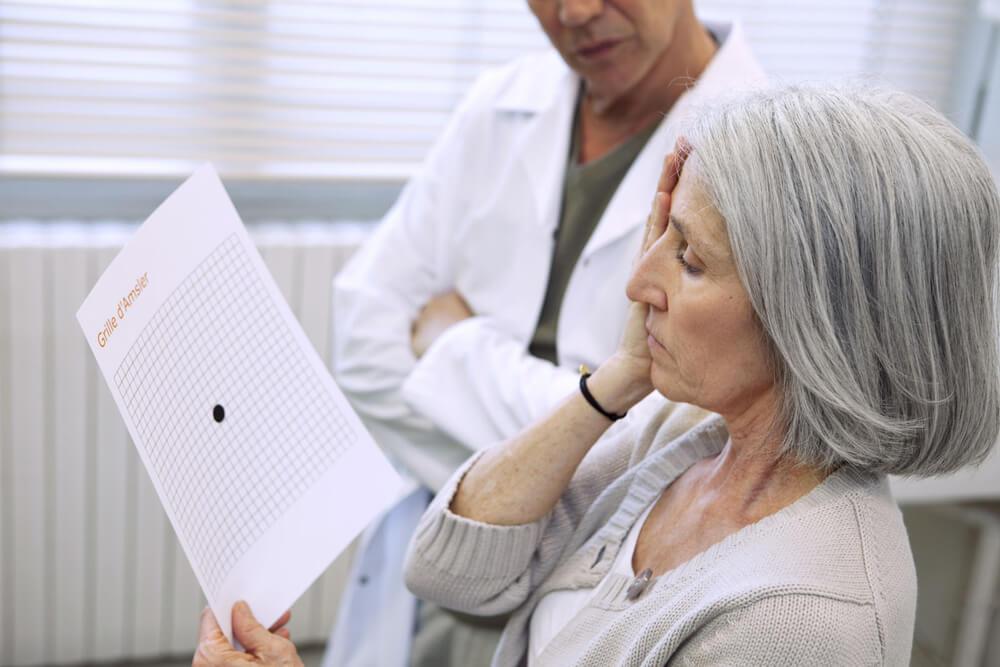 Senior woman having her eyes checked
