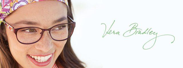 Eye doctor, woman wearing Vera Bradley eyeglasses in Heath, OH