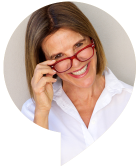 Woman wearing eyeglasses, inside speech bubble