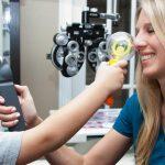 Eye exam, boy at eye exam in Billings, Montana