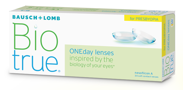 Eye doctor, box of Bausch+Lomb Biotrue Oneday for presbyopia in Billings, MT