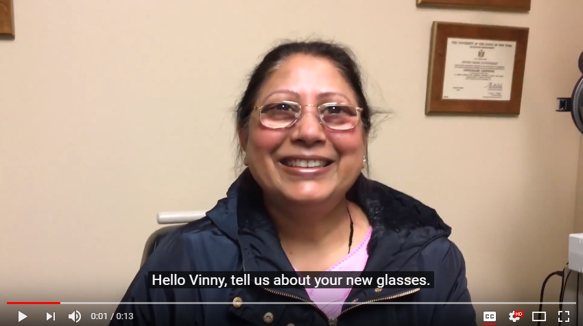 video, woman low vision patient talks about her glasses