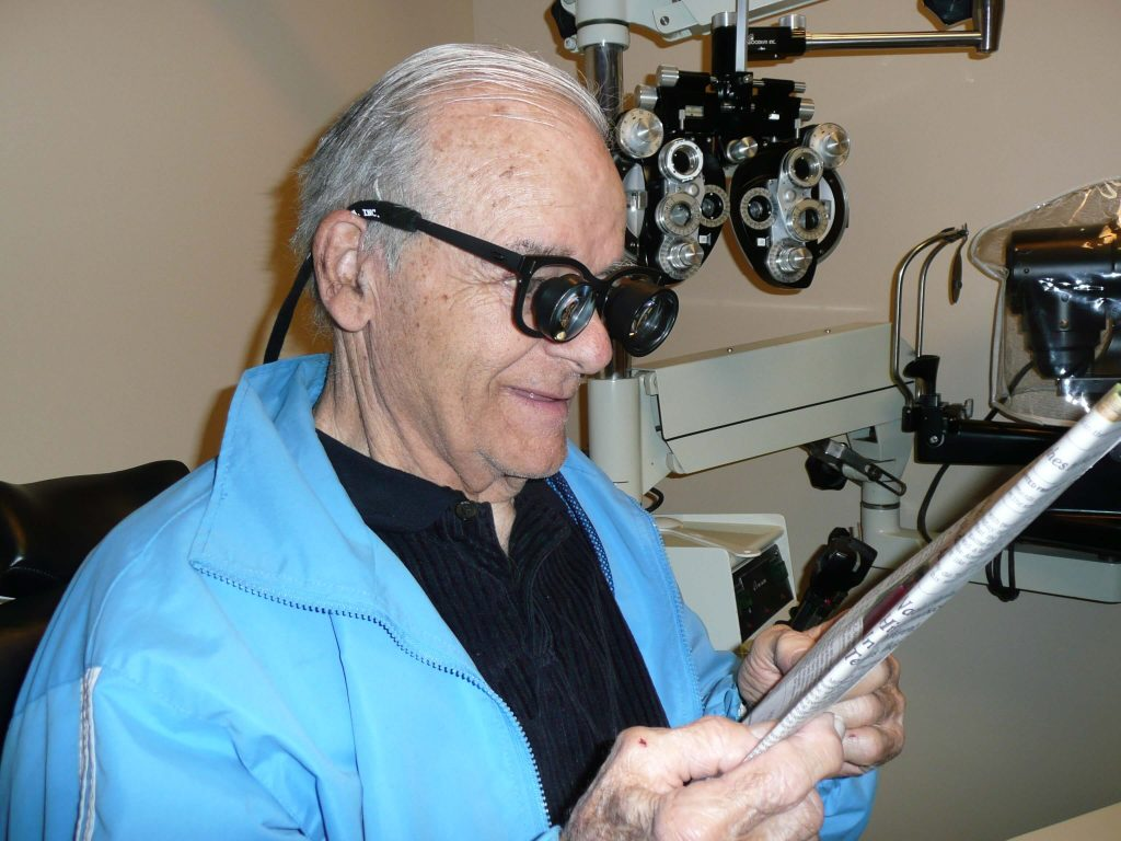 Senior man with low vision after stroke