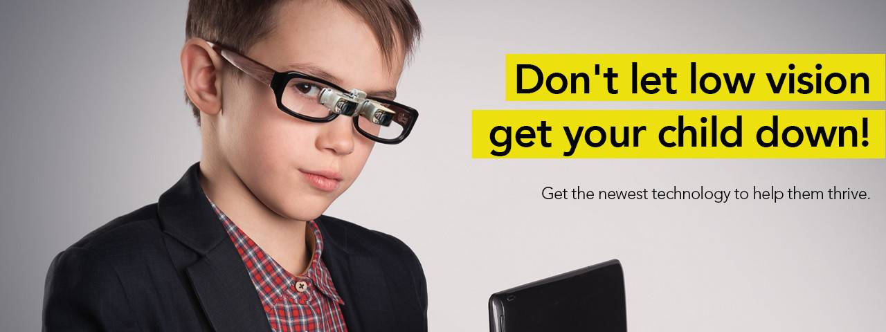 child with telescopic eyeglasses