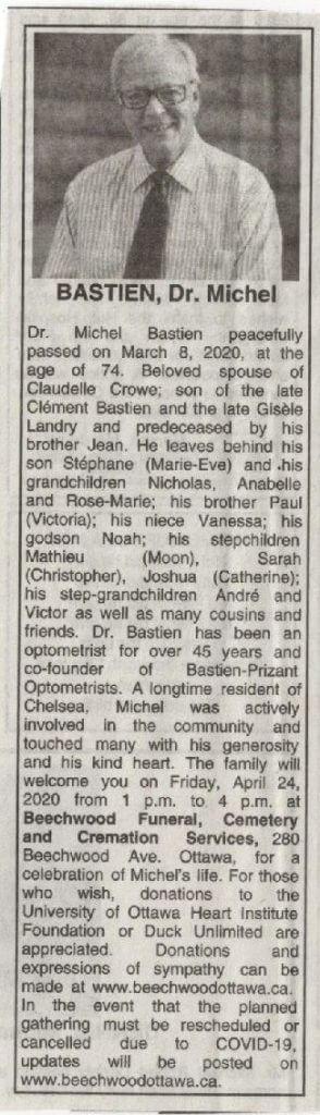Dr. Bastien - Optometrist Ottawa, Ontario