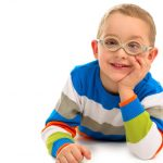 boy with myopia controlling with glasses