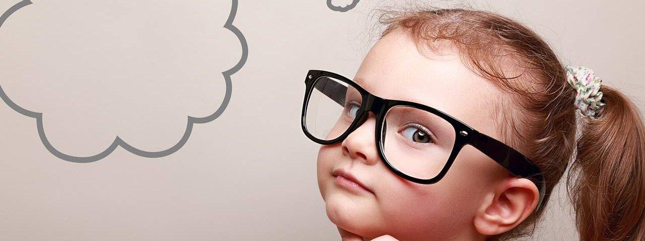 Eye care, little girl wearing eyeglasses in Houston, TX