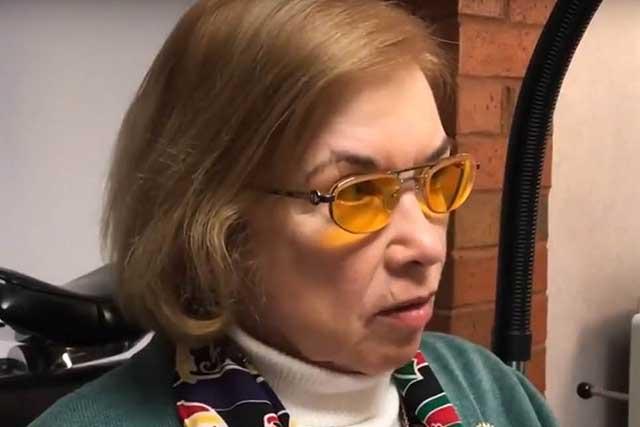 Woman Wearing E-Scoop Glasses