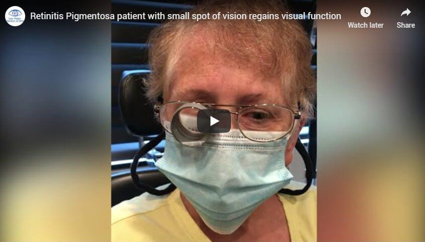 Retinitis Pigmentosa patient with small spot of vision regains visual function