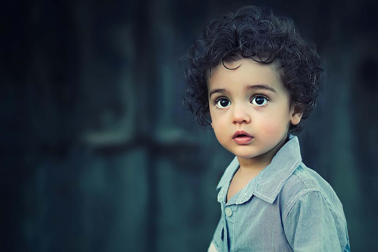 toddler boy staring