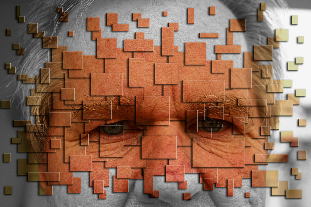 Mosaic of elderly man's face and eyes