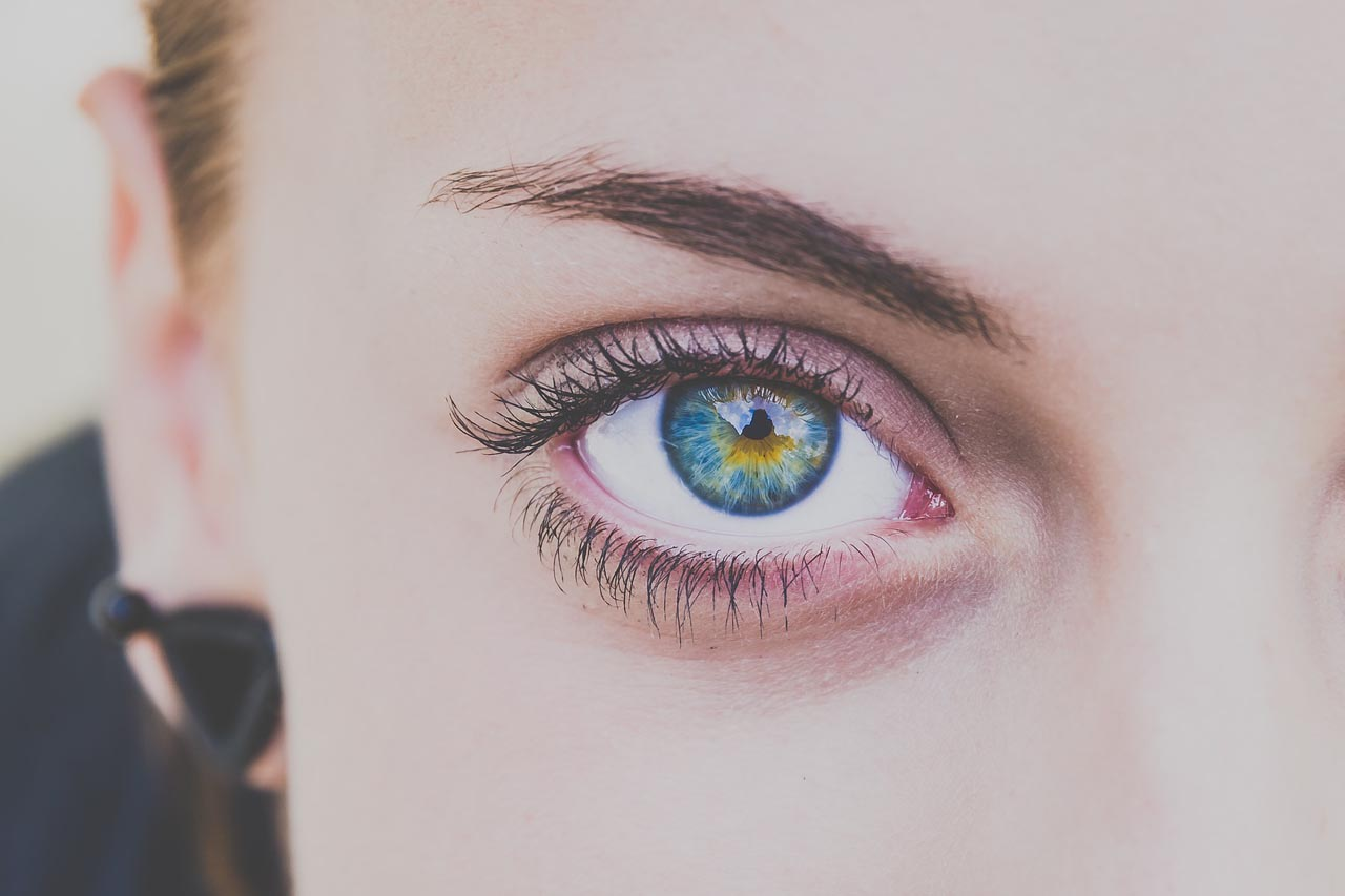 close up of woman's colored eye