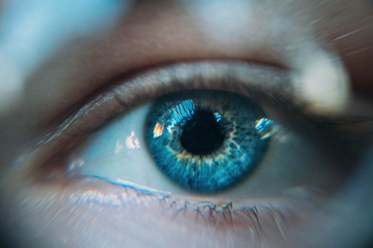 Close up of eye wearing contact lens