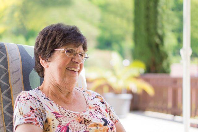 optometrist, senior woman wearing glasses after CXL for keratoconus in Fair Lawn, NJ