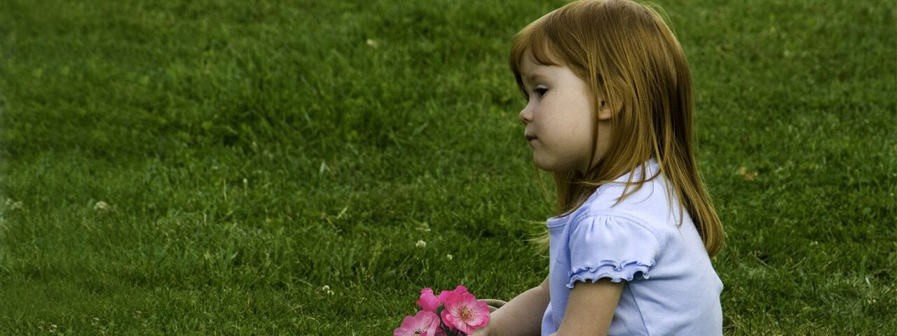 Red-headed little girl, sitting in green field