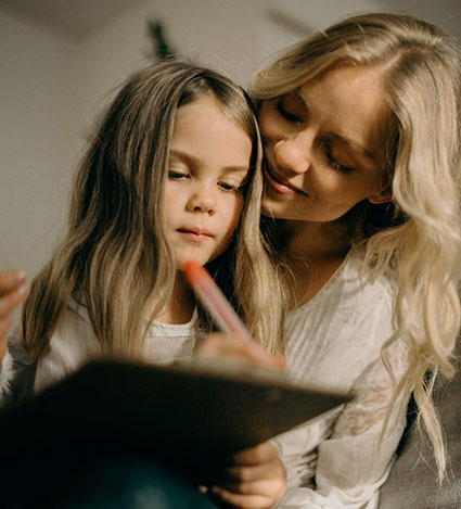 child with her mother
