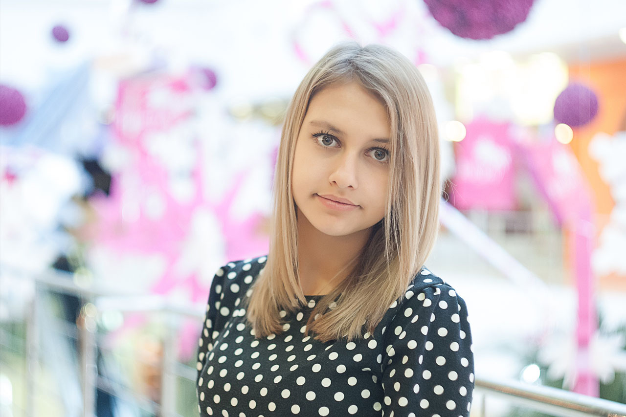 Girl wearing polka dots