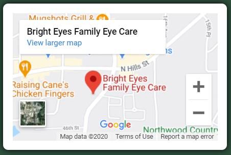 Bright Eyes Family Eye Care Map