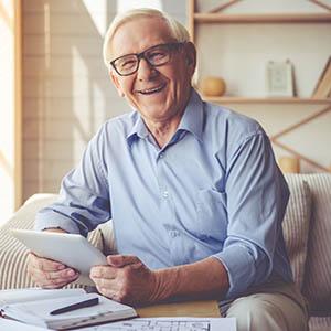 eyewear, portrait of older man wearing scleral lenses