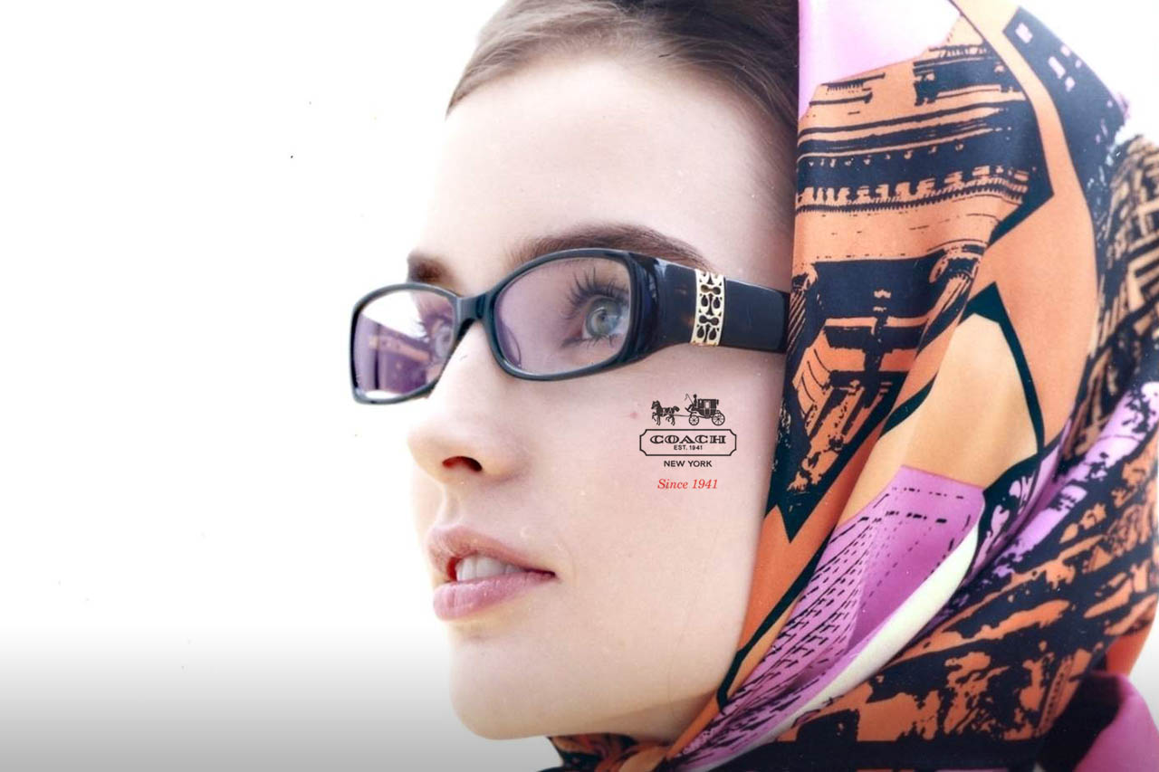 Female Model Wearing Headscarf and Coach Eyeglasses