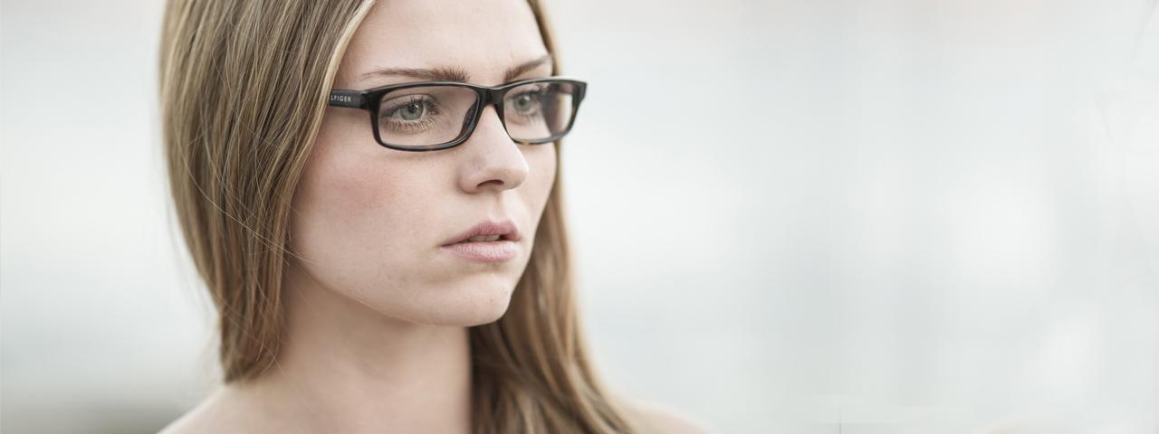 Eye doctor, girl wearing prescription eyeglasses in North Miami Beach, FL