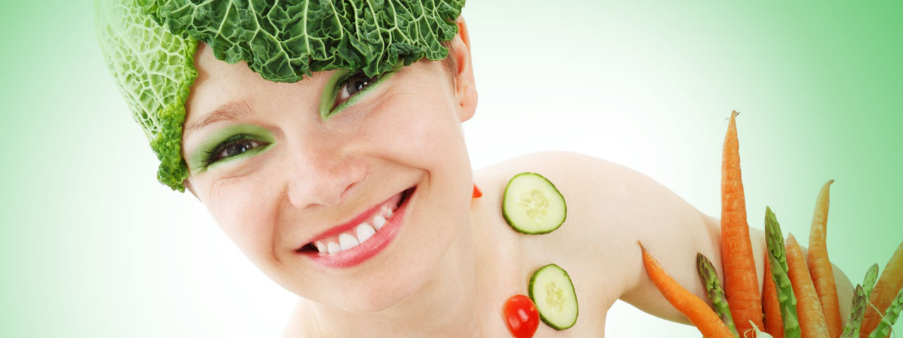 Eye doctor, woman with vegetables on her in North Miami Beach, FL