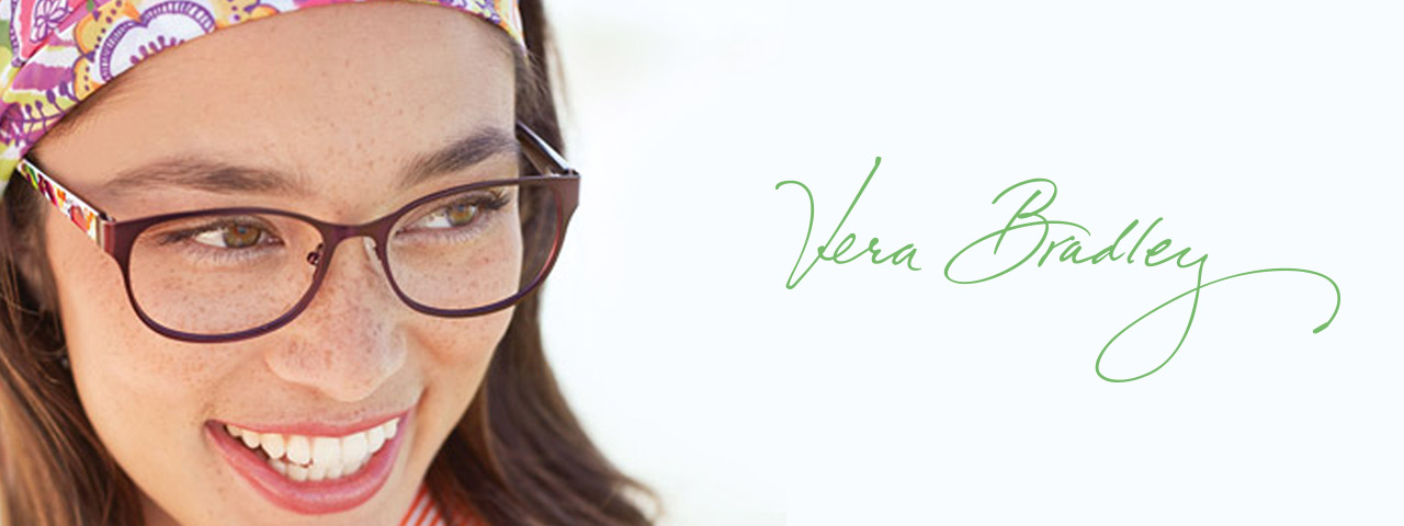 Woman wearing Vera Bradely eyeglasses