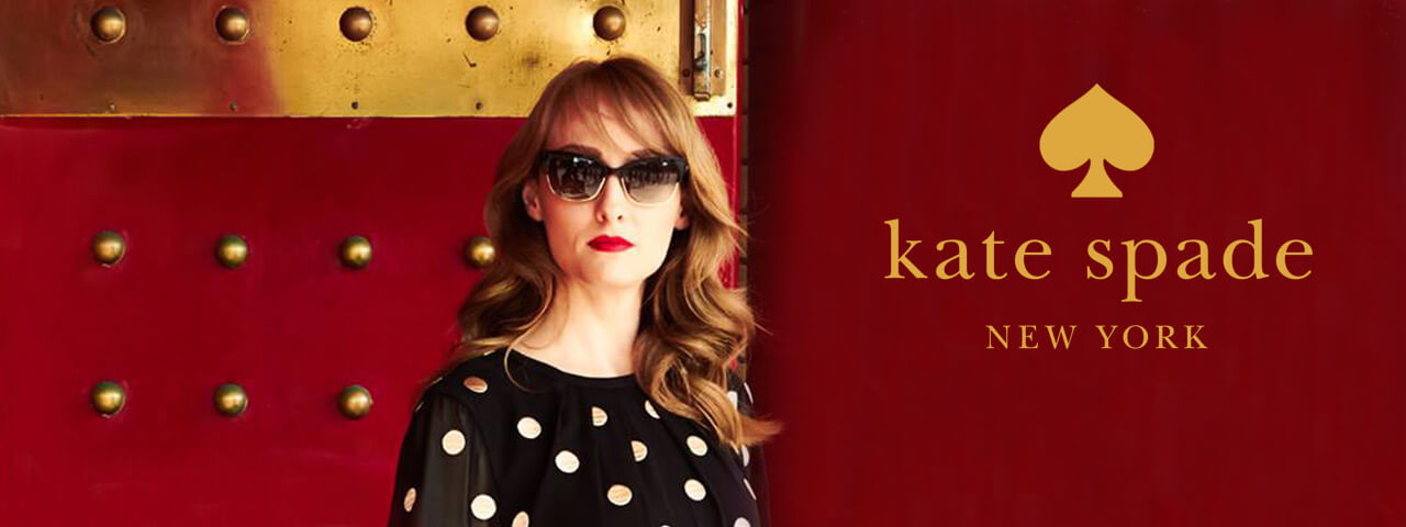 Woman wearing red Kate Spade sunglasses