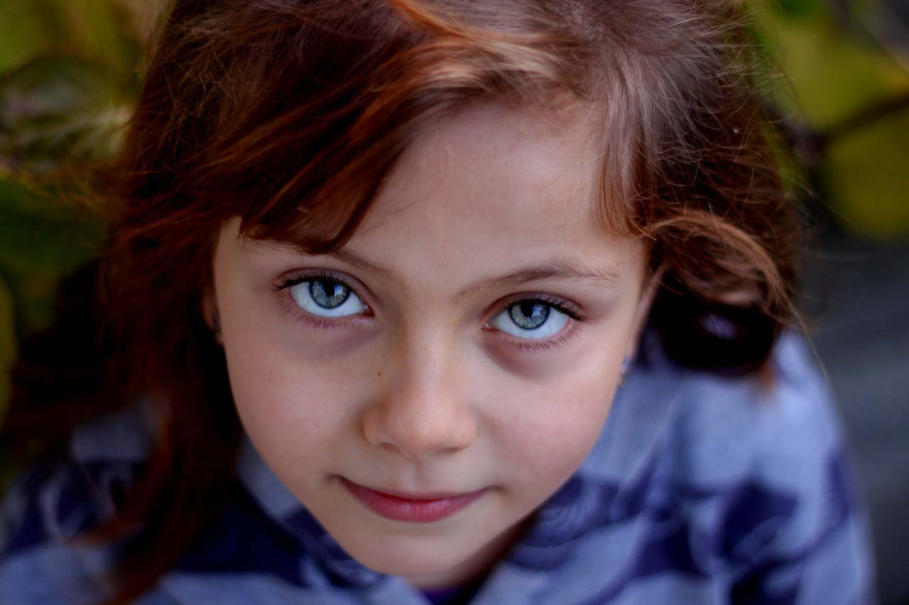 redhead girl with blue eyes