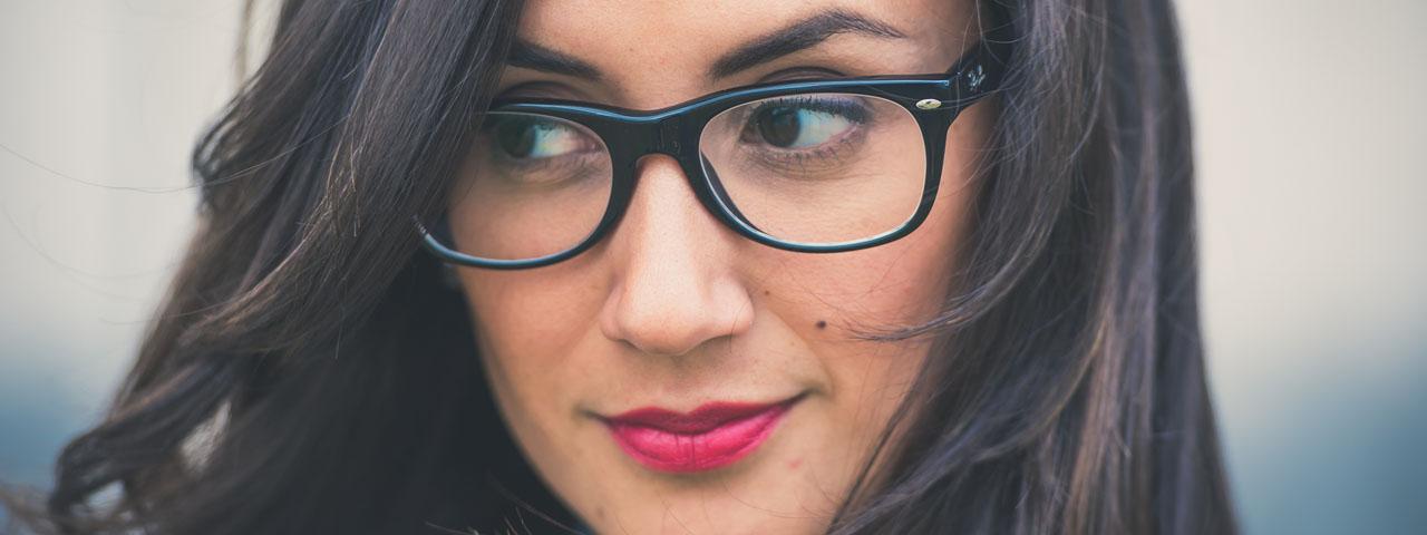 Girl Glasses Dark Hair 1280x480