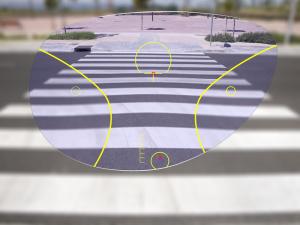 View of sidewalk through progressive lenses