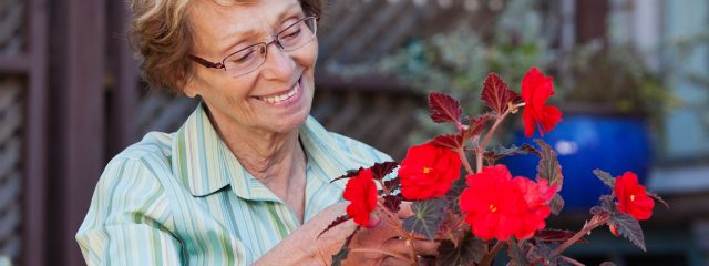 Eye care for woman tending flowers in San Leandro, Concord, and Castro Valley, CA