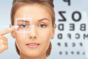 Eye exam, woman with Corneal Cross Linking in San Leandro, Concord, Castro Valley CA