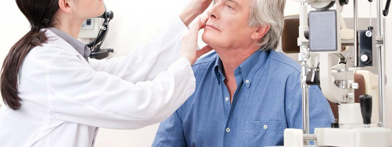 Man being evaluated for cataract surgery