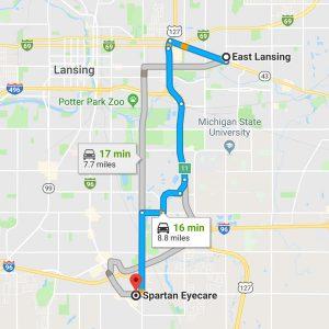 east lansing to spartan map