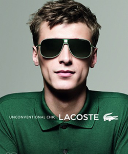 Model wearing LACOSTE sunglasses