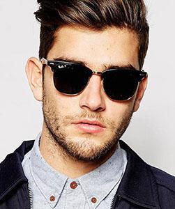 Model wearing RayBan sunglasses