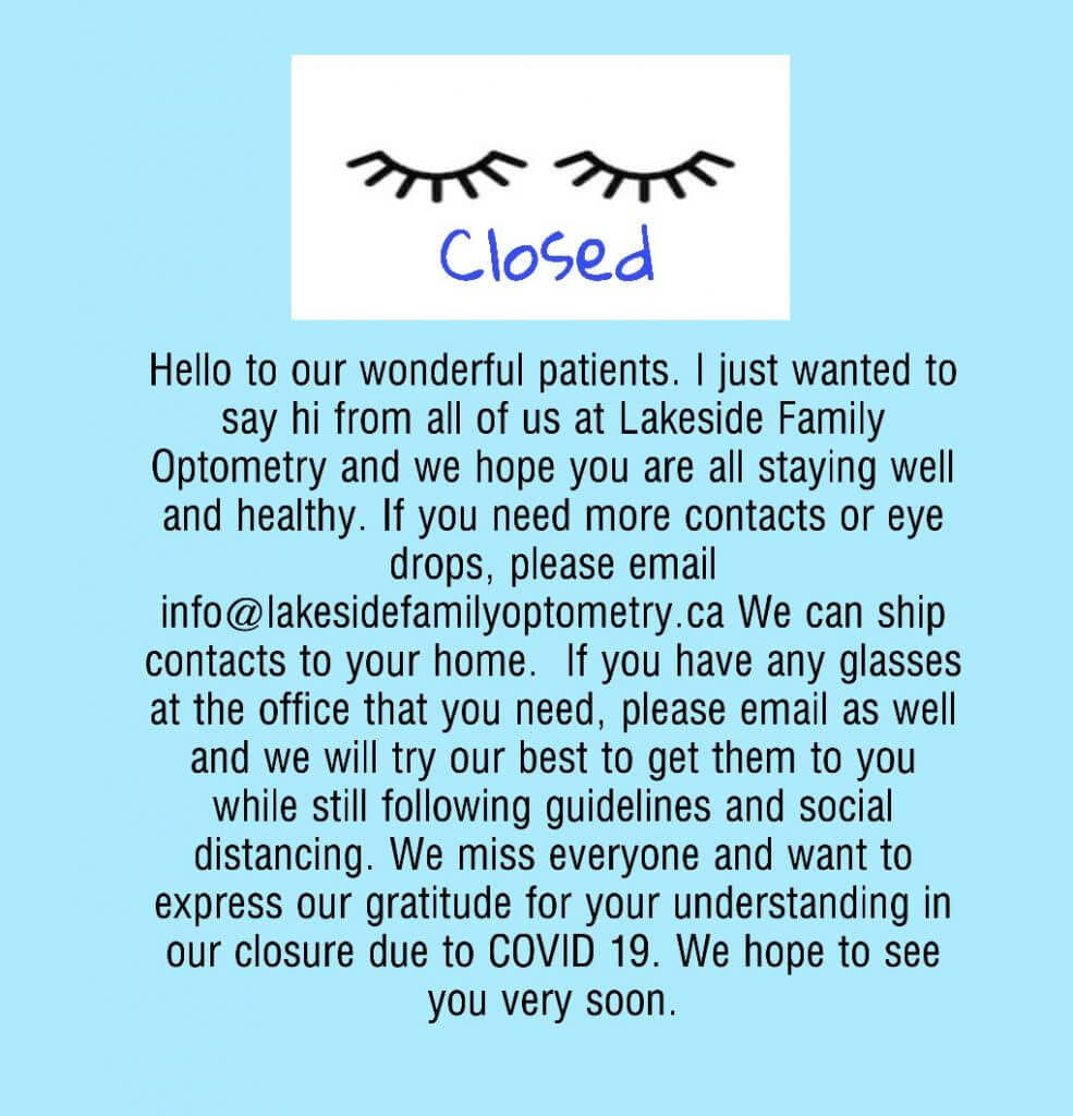 Coronavirus closing information - Eye Care in Orillia, Ontario