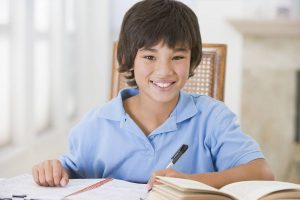 boy doing his homework in Redondo Beach, California